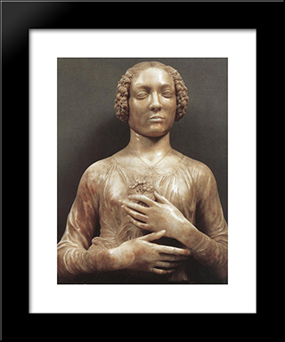 Portrait Of A Woman:  Modern Black Framed Art Print by Andrea del Verrocchio