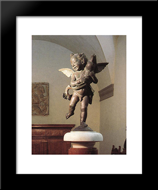 Putto With Dolphin:  Modern Black Framed Art Print by Andrea del Verrocchio