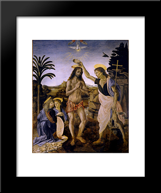 The Baptism Of Christ:  Modern Black Framed Art Print by Andrea del Verrocchio