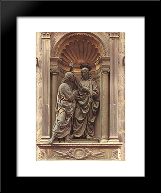 The Doubting Thomas:  Modern Black Framed Art Print by Andrea del Verrocchio