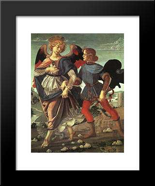 Tobias And The Angel:  Modern Black Framed Art Print by Andrea del Verrocchio