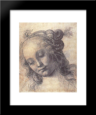 Woman Looking Down:  Modern Black Framed Art Print by Andrea del Verrocchio