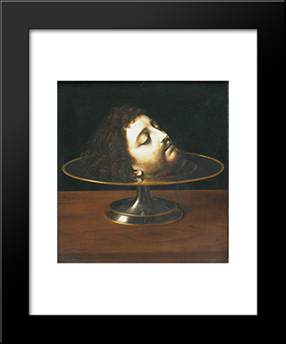 Head Of St. John The Baptist:  Modern Black Framed Art Print by Andrea Solario