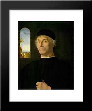 Portrait Of A Man:  Modern Black Framed Art Print by Andrea Solario