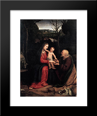 Rest During The Flight To Egypt:  Modern Black Framed Art Print by Andrea Solario