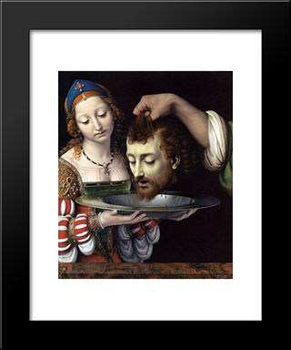 Salome With The Head Of St. John The Baptist:  Modern Black Framed Art Print by Andrea Solario