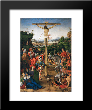 The Crucifixion:  Modern Black Framed Art Print by Andrea Solario