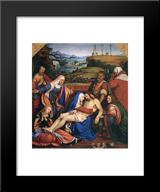 The Lamentation Of Christ:  Modern Black Framed Art Print by Andrea Solario
