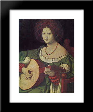 The Lute Player:  Modern Black Framed Art Print by Andrea Solario