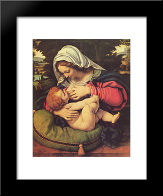 The Virgin Of The Green Cushion:  Modern Black Framed Art Print by Andrea Solario