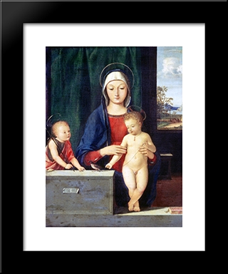 Virgin And Child:  Modern Black Framed Art Print by Andrea Solario