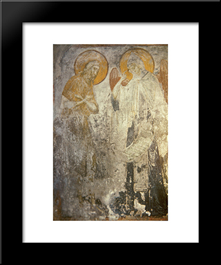 Angel Presents Monk Pachomius Cenobitic Monastic Charter.:  Modern Black Framed Art Print by Andrei Rublev