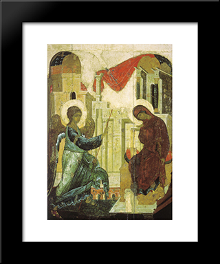 Annunciation:  Modern Black Framed Art Print by Andrei Rublev