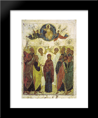 Ascension Of Jesus:  Modern Black Framed Art Print by Andrei Rublev