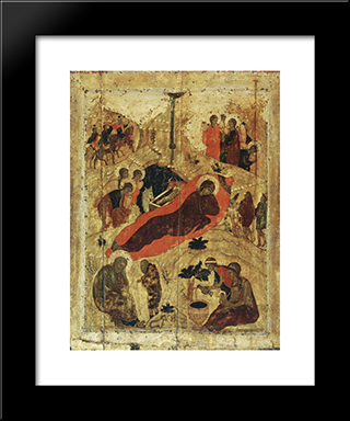 Birth Of Christ:  Modern Black Framed Art Print by Andrei Rublev