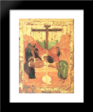 Deposition To Tomb:  Modern Black Framed Art Print by Andrei Rublev