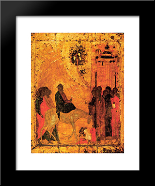 Lord'S Entry Into Jerusalem:  Modern Black Framed Art Print by Andrei Rublev