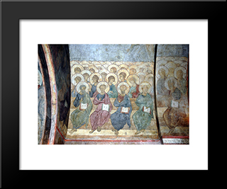 The Last Judgement Angels And Apostles:  Modern Black Framed Art Print by Andrei Rublev