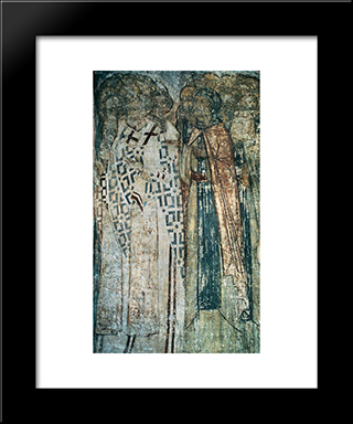The Last Judgement Faces Of Righteous Men:  Modern Black Framed Art Print by Andrei Rublev