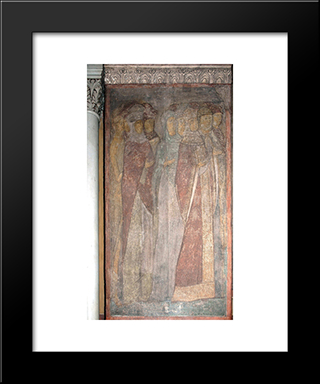 The Last Judgement Faces Of Righteous Woman:  Modern Black Framed Art Print by Andrei Rublev