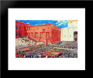 A Bow With A Red Porch. Illustration For The Coronation Album:  Modern Black Framed Art Print by Andrei Ryabushkin