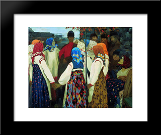 A Young Man Breaking Into The Girls Dance, And The Old Women Are In Panic:  Modern Black Framed Art Print by Andrei Ryabushkin