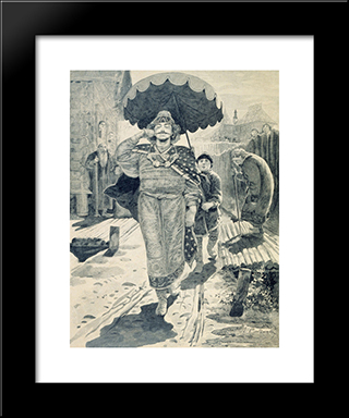 Churilo Plenkovich. Illustration For The Book Russian Epic Heroes:  Modern Black Framed Art Print by Andrei Ryabushkin
