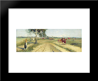 Coming Back From Fair:  Modern Black Framed Art Print by Andrei Ryabushkin