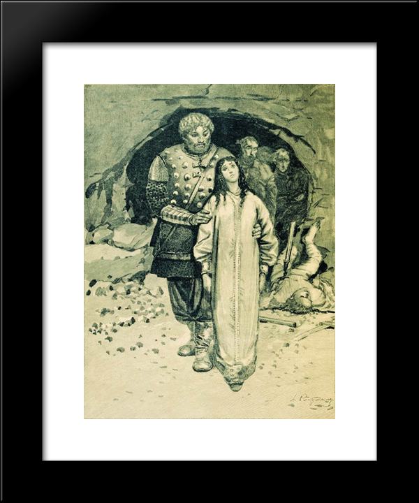 Dobrynya Nikitich. Illustration For The Book Russian Epic Heroes:  Modern Black Framed Art Print by Andrei Ryabushkin