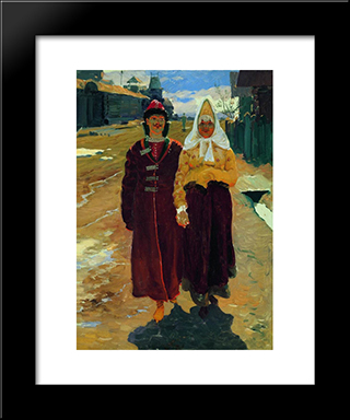 Going On A Visit:  Modern Black Framed Art Print by Andrei Ryabushkin