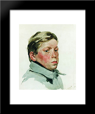 Head Of Boy:  Modern Black Framed Art Print by Andrei Ryabushkin