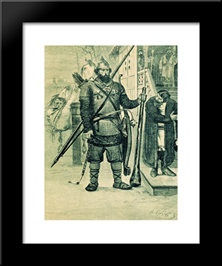 Ilya Of Murom. Illustration For The Book Russian Epic Heroes:  Modern Black Framed Art Print by Andrei Ryabushkin