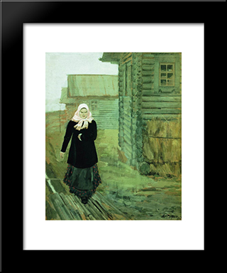 In A Village. Going To Liturgy:  Modern Black Framed Art Print by Andrei Ryabushkin