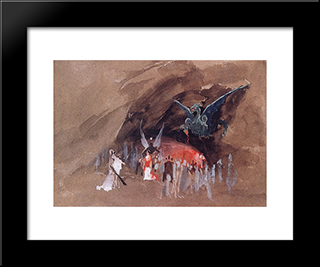 In The Dragon Cave:  Modern Black Framed Art Print by Andrei Ryabushkin