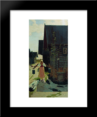 In The Village. Girl With A Bucket:  Modern Black Framed Art Print by Andrei Ryabushkin