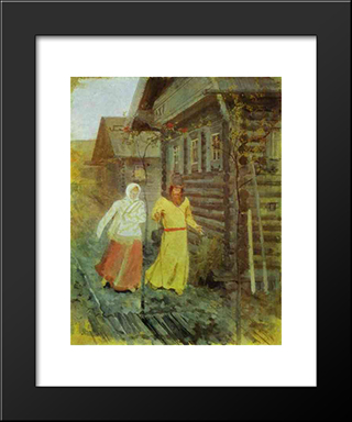 In The Village:  Modern Black Framed Art Print by Andrei Ryabushkin