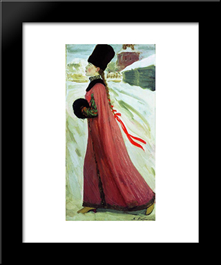 Moscow Girl Of Xvii Century:  Modern Black Framed Art Print by Andrei Ryabushkin