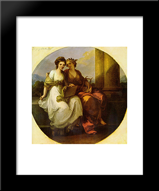 Allegory Of Poetry And Music:  Modern Black Framed Art Print by Angelica Kauffman