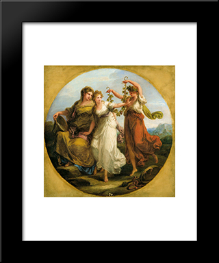 Beauty, Supported By Prudence, Scorns The Offering Of Folly:  Modern Black Framed Art Print by Angelica Kauffman