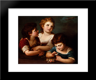 Children With A Bird'S Nest And Flowers:  Modern Black Framed Art Print by Angelica Kauffman