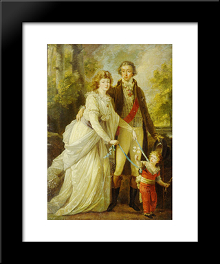 Count Nikolai Tolstoy With His Wife Anna Ivanovna And Their Son Alexander:  Modern Black Framed Art Print by Angelica Kauffman