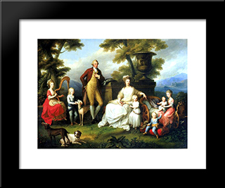 Ferdinand Iv Of Naples And His Family:  Modern Black Framed Art Print by Angelica Kauffman