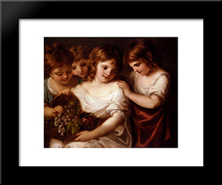 Four Children With A Basket Of Fruit:  Modern Black Framed Art Print by Angelica Kauffman