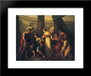 Hector Calls Paris To The Battle:  Modern Black Framed Art Print by Angelica Kauffman