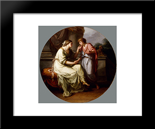 Papirius Praetextatus Entreated By His Mother To Disclose The Secrets Of The Deliberations Of The Roman Senate:  Modern Black Framed Art Print by Angelica Kauffman