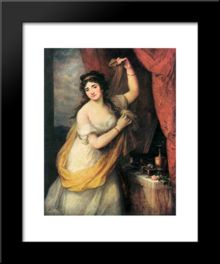 Portrait Of A Woman:  Modern Black Framed Art Print by Angelica Kauffman