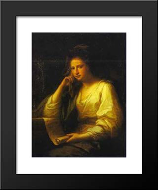 Portrait Of A Young Woman As A Sibyl:  Modern Black Framed Art Print by Angelica Kauffman