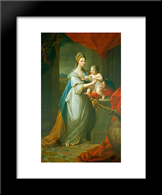 Portrait Of Augusta Of Hanover With Her First Born Son Karl Georg Of Brunswick:  Modern Black Framed Art Print by Angelica Kauffman