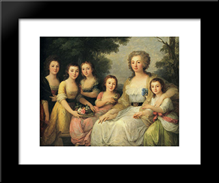 Portrait Of Countess A S Protasova With Her Nieces:  Modern Black Framed Art Print by Angelica Kauffman