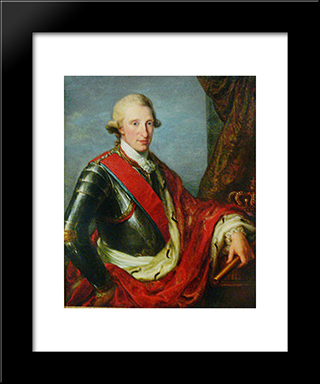 Portrait Of Ferdinand I Of The Two Sicilies:  Modern Black Framed Art Print by Angelica Kauffman